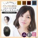 つむじ・分け目用ヘアピースウィッグ-人毛100%ブラック