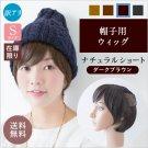 【訳アリ在庫限り】【小さいサイズ】帽子用ウィッグ-ナチュラルショート-ダークブラウン