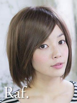 フルウィッグ-小顔シャギーカジュアルショート-ライトブラウン-逆毛ふんわり型