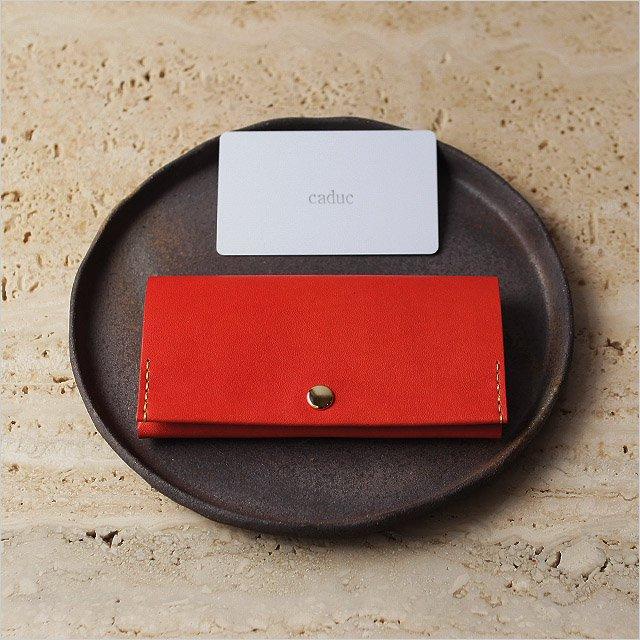 カードケース レッドオレンジ 小銭入れ・小物入れにも使えます◎牛革手縫い仕上げ