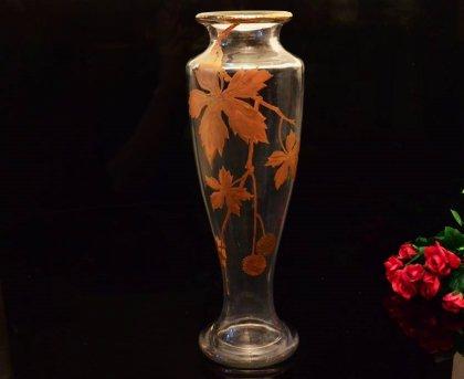バカラ【Baccarat】 金彩プラタナス文花瓶