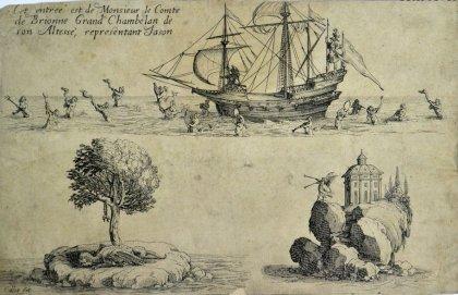 ジャック・カロ【フランス】「侍従長ド・ブリオンヌ伯の入場」銅版画 1627年