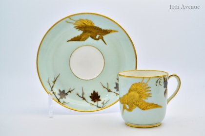 ロイヤルウースター【イギリス】鳥に楓文コーヒーカップ&ソーサー 1876年