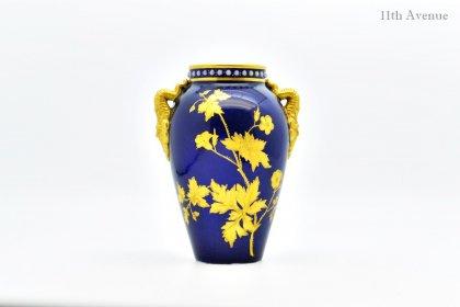 グレンジャー【イギリス】 コバルト金彩花文花瓶 1870年代