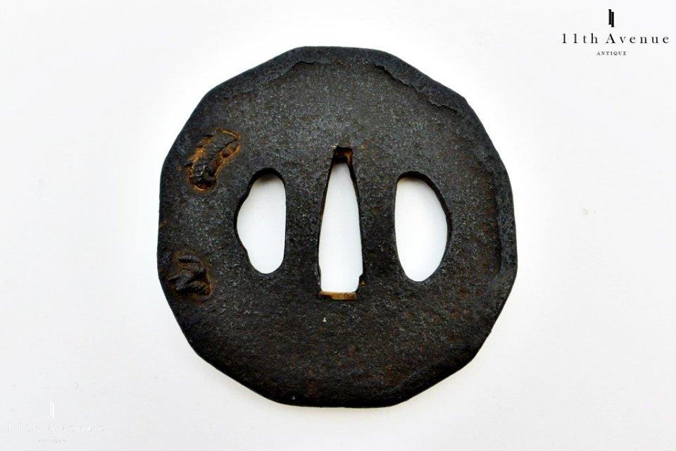 無銘【江戸時代】金象嵌 高彫龍図 鍔