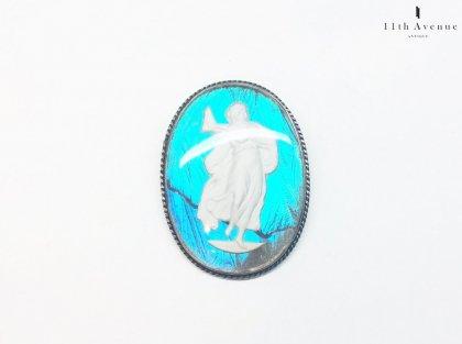 イギリス【アール・デコ】バタフライウィング(モルフォ蝶)女神のブローチ