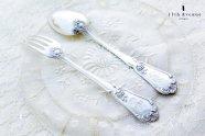 ピュイフォルカ【フランス】純銀製アントルメ用スプーン&フォークペア