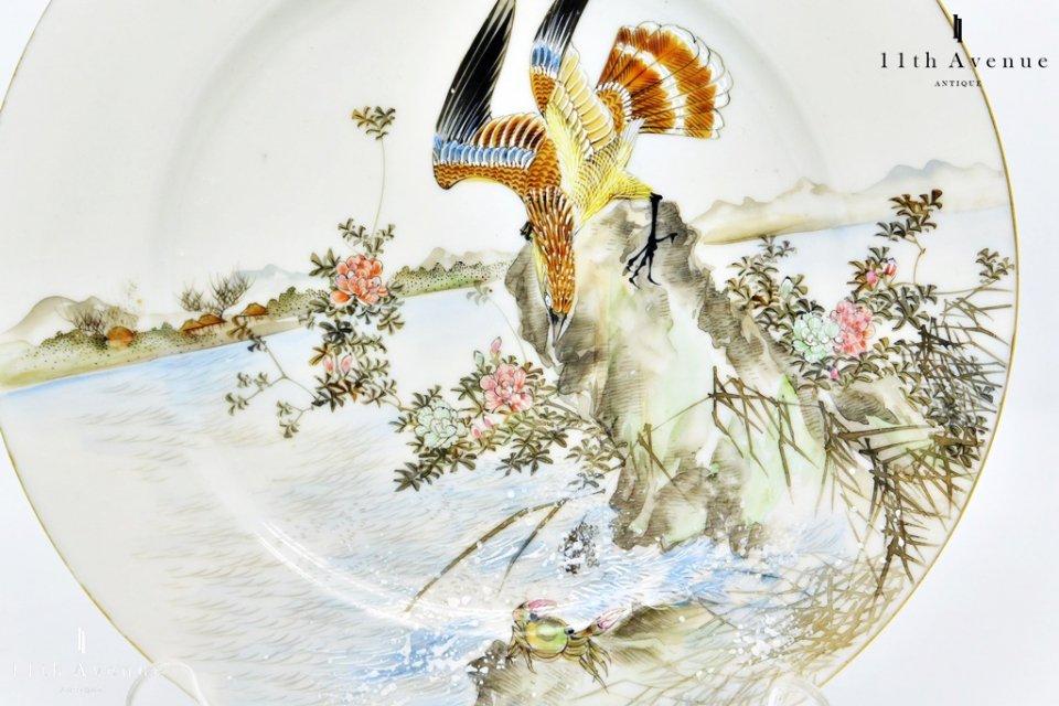 野瀬【横浜】里帰り 蟹を狙う鷹図 プレート
