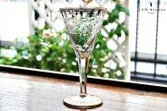 ボヘミア【アンティーク】金彩とグラヴィール装飾のワイングラス