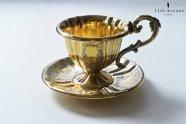 Philippe Berthier【フランス】彫金ヴェルメイユ装飾純銀製カップ&ソーサー 1840年代