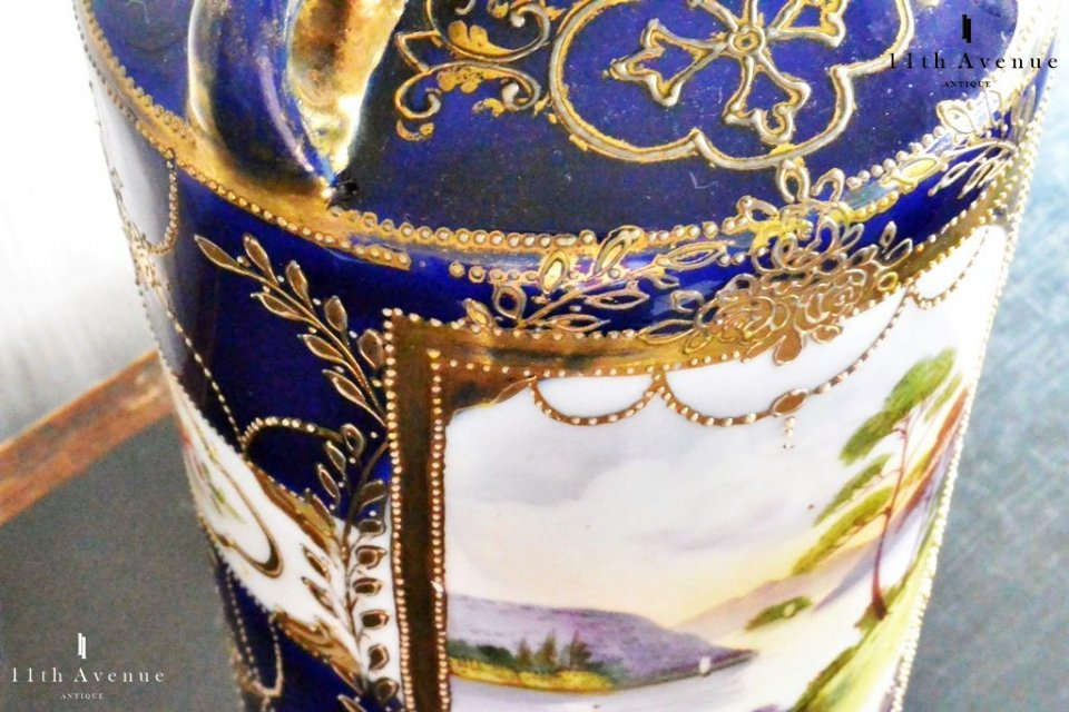 オールドノリタケ【里帰り】 金彩コバルト風景文花瓶