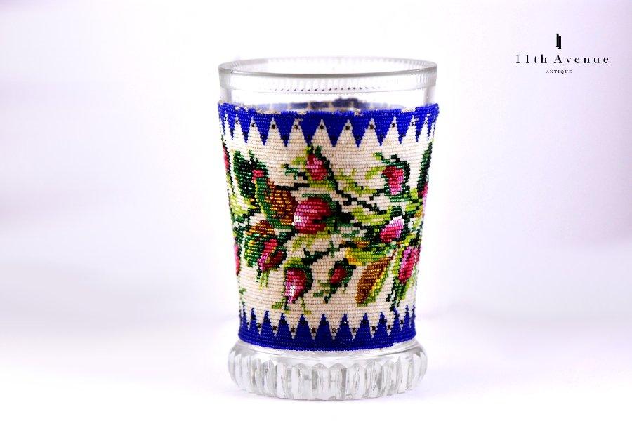 ボヘミア【アンティーク 】ビーズ装飾タンブラー 1830年代