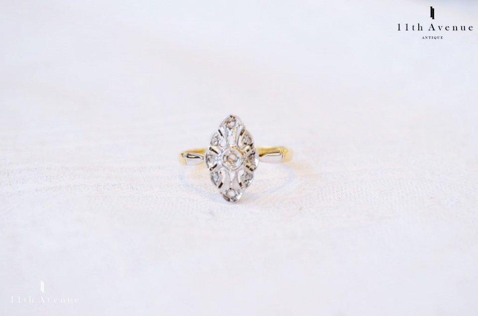 フランス【アンティーク】ダイヤモンドの18金ゴールドリング(K18)