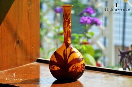 ガレ【フランス】蘭に野草文花瓶