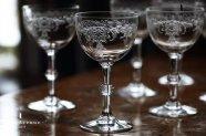 フランス【アンティーク】エッチング装飾ワイングラス
