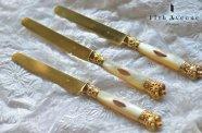フランス【アンティーク】白蝶貝&純銀製フロマージュナイフ 1800年代半ば
