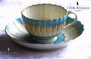 イギリス【アンティーク】ターコイズ&金彩装飾カップ&ソーサー 1770年頃