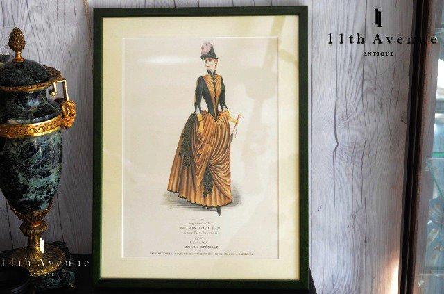 Gutman,Loew&Cie【フランス】グリーンドレスのファッションプレート 1880年代