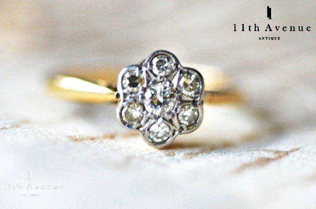 イギリス【アンティーク】ダイヤモンド デイジーリング