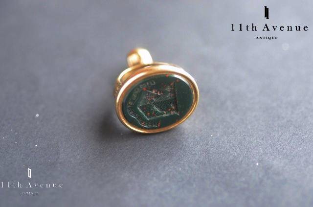 イギリス【アンティーク】ブラッドストーンの紋章フォブシール 19世紀