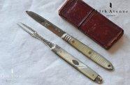 イギリス【アンティーク】白蝶貝&純銀製フォールディングナイフ&フォーク 1800年頃