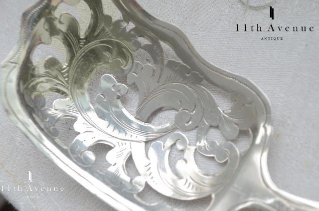 オランダ【アンティーク】透かし文様 純銀製サーバースプーン 1850年