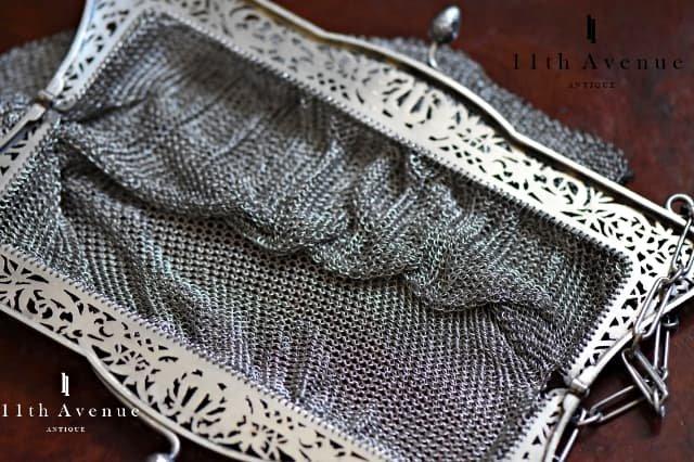 フランス【アンティーク】透かし細工 シルバー製メッシュバッグ