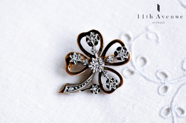 フランス【アンティーク】カトルフィーユ ダイヤモンド・ブローチ 18金&シルバー 19世紀