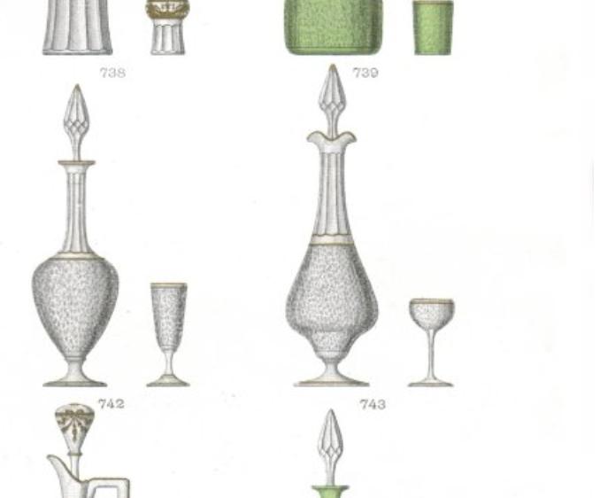サン・ルイ【フランス】エッチング装飾リキュールグラスペア 1900年初頭