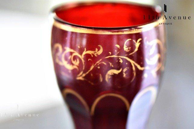 ボヘミア【アンティーク】ステイニング装飾 金彩ルビーカラー ワイングラス A