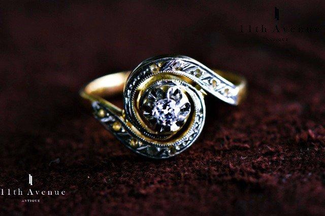 フランス【アンティーク】トゥールビヨンデザイン ダイヤモンド・リング 18金