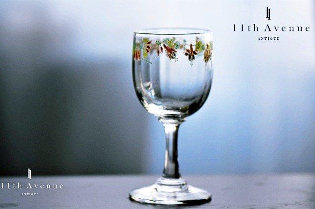 ルグラ【フランス】エナメル彩フクシャ文ワイングラス A