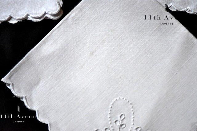 アイレット・レース【ヴィテージ】花籠のティーナプキン 6枚セット
