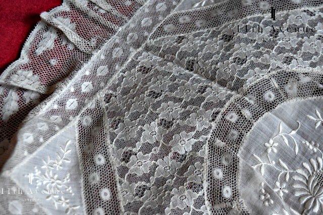 ノルマンディーレース【フランス】フラワーデザインのクッションカバー 長方形