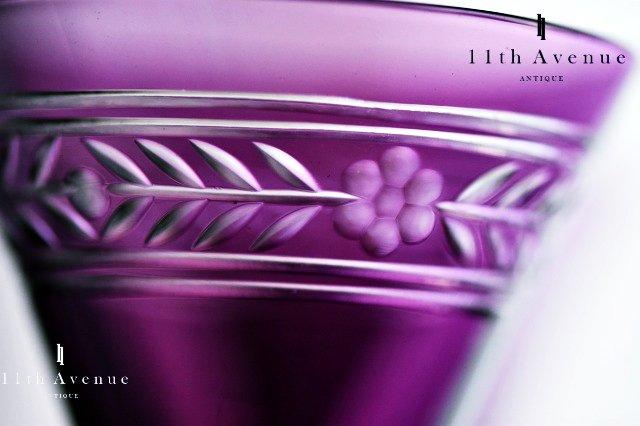 バカラ【フランス】「EMPIRE」(アンピール)紫被せグラス 6客セット