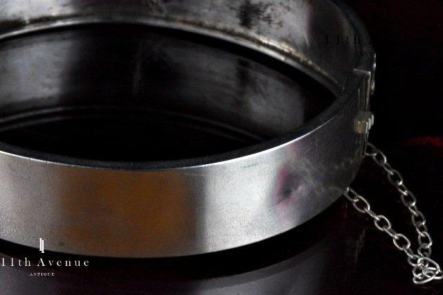 フランス【アンティーク】クローバー シルバー製バングル