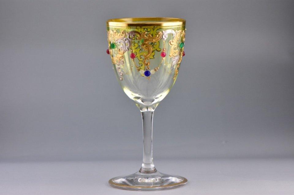 ボヘミア【アンティーク】ジュール装飾金銀彩グラス