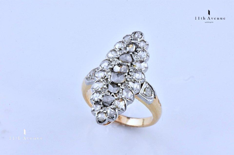 フランス【アンティーク】ローズカットダイヤモンド マーキスリング