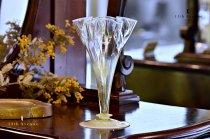 イギリス【アンティーク】ヴァセリンガラス 花瓶
