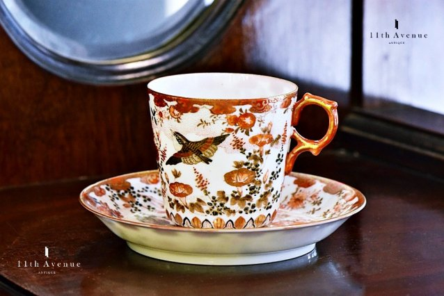 Haruyama(Kutani) Meiji period Cup & Saucer ≪明治期九谷焼晴山製里帰り花鳥文カップ&ソーサー≫