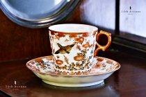 明治期九谷焼晴山製里帰り花鳥文カップ&ソーサー≪Haruyama(Kutani) Meiji period Cup & Saucer≫