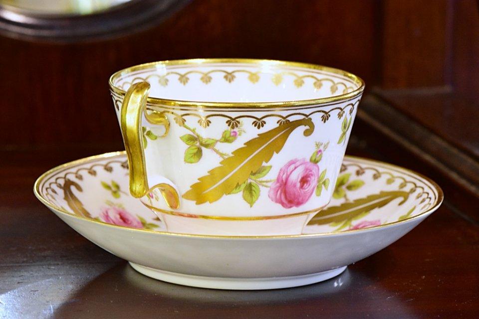 コープランド(イギリス)薔薇文カップ&ソーサー ≪Copeland rose design antique cup & saucer≫