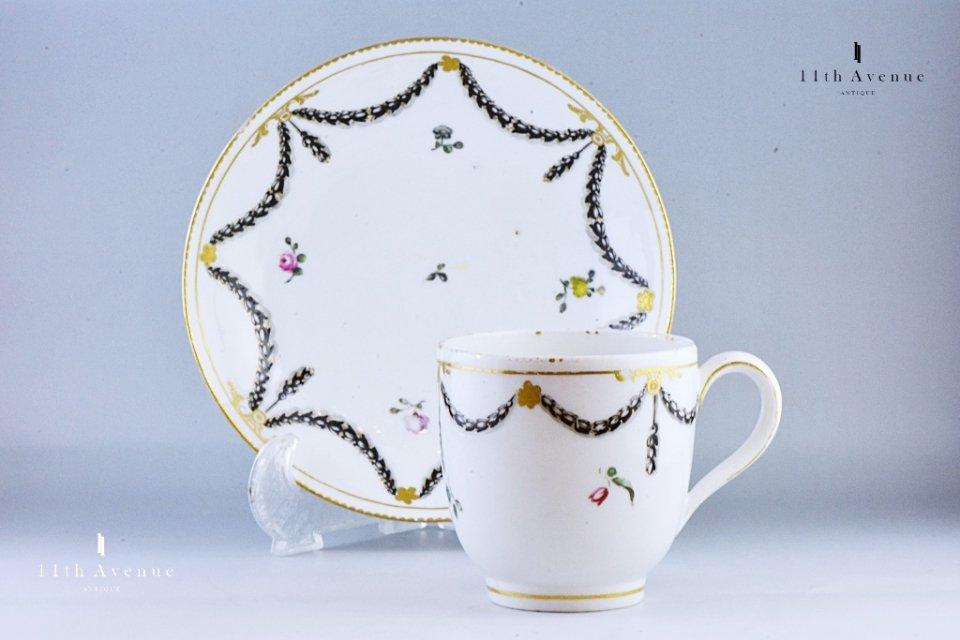 チェルシー=ダービー 花飾り文カップ & ソーサー 1770年〜1784年≪Chelsea-Derby Cup & Saucer≫