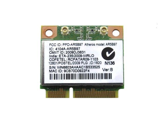 Atheros AR5B97 AR9287 2.4GHz b/g/n 2x2 MIMO 300Mbps PCIe mini half 無線LANカード
