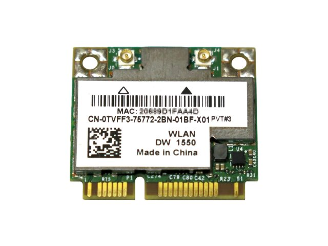 Dell Wireless 1550 (DW1550) WLAN/BT 内蔵ワイヤレスLAN Half-Miniカード (867Mbps 802.11ac) BCM94352HMB/BCM4352