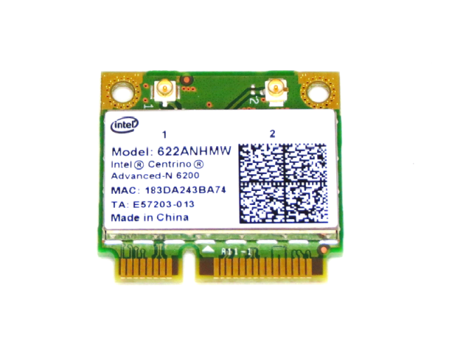 インテル Intel Centrino Advanced-N 6200 デュアルバンド  2.4/5.0GHz 802.11a/b/g/n 2x2 300Mbps 無線LANカード 622ANHMW
