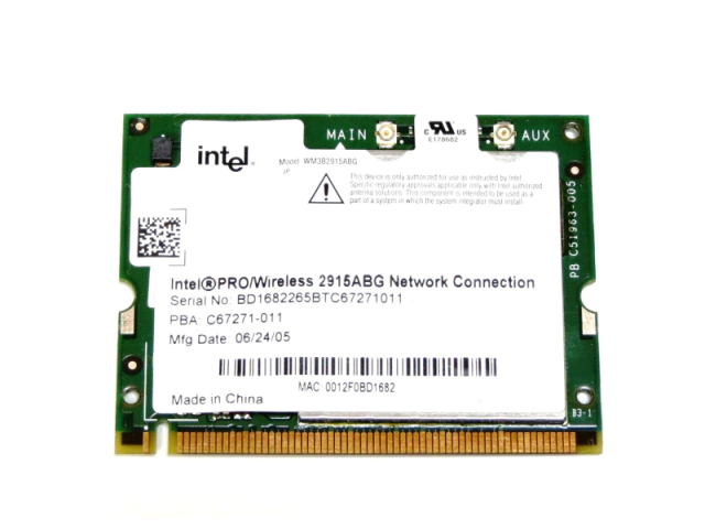 インテル Intel PRO/Wireless 2915ABG Network Connection 802.11a/b/g Mini PCI 無線LANカード