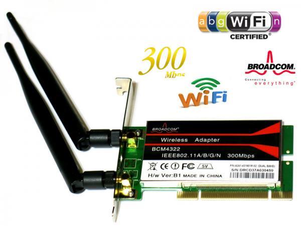 Broadcom PCI 無線lanアダプター 802.11a/b/g/n 300Mbps BCM4322 デスクトップパソコン PCIバス用