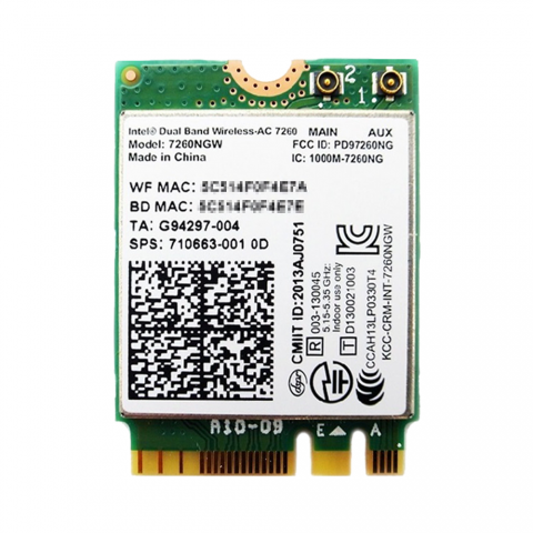 インテル Intel Dual Band Wireless-AC 7260 2.4/5GHz 802.11ac 867Mbps + Bluetooth 4.0 M.2 無線LANカード 7260NGW