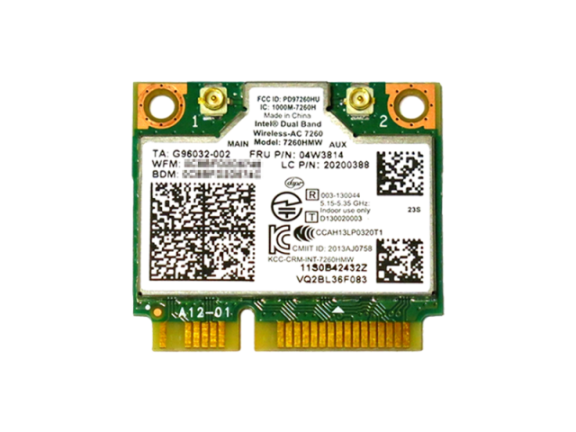 Lenovo純正 04W3814/04X6010 Intel Dual Band Wireless-AC 7260 867Mbps 802.11ac + BT4.0 無線LANカード 7260H…